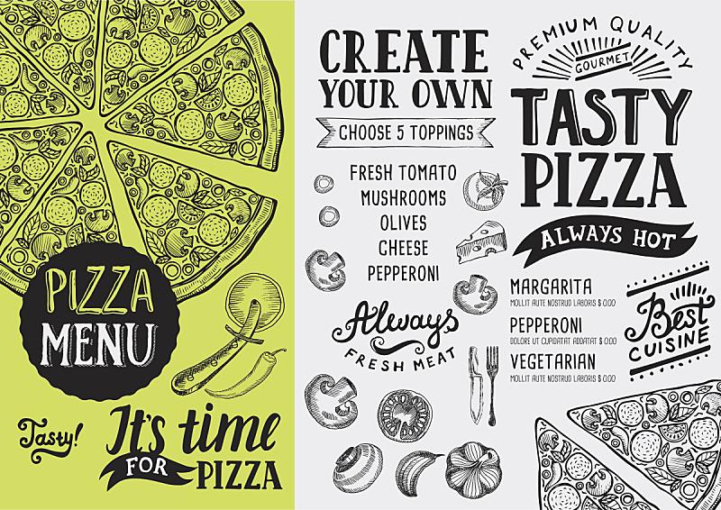 比萨饼,模板,菜单,食品,餐馆,意大利食品,乱画,绘画插图,水平画幅,古典式