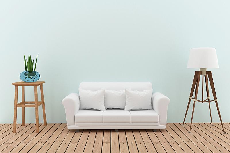 沙发,室内设计师,三维图形,灯,白色,绿厅,图像,褐色,水平画幅,无人