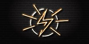 霓虹灯,矢量,概念,背景,电,能源,分离着色,闪电,装饰,保护