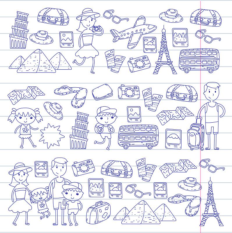 未成年学生,矢量,儿女,旅途,乱画,旅行的人,准备食物,儿童画,冒险,度假