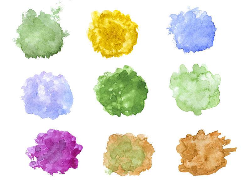 绘画插图,调色板,白色,斑点,分离着色,水彩画,水,艺术,水平画幅,形状