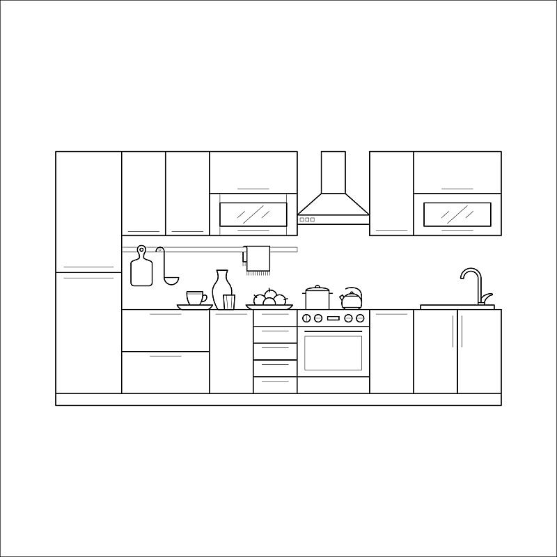 家具,成一排,厨房,细的,抽屉,线条画,冷却器,风帽,烤炉,办公室