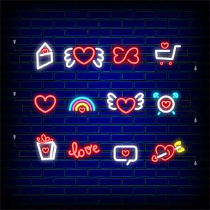 情人节,计算机图标,霓虹灯,幸福,夜晚,绘画插图,标签,灯,金属丝,想法