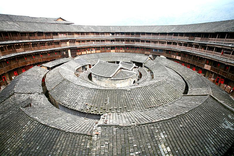 蒂卢,福建省,乡村,土楼,城墙,水平画幅,无人,古老的,户外,过去