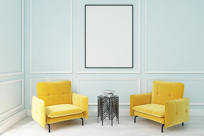 扶手椅,黄色,复式楼,新的,座位,水平画幅,无人,家具,俄罗斯