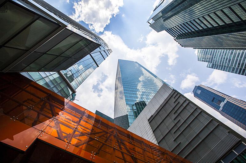 新加坡市,莱佛士城,莱佛士坊,新加坡,摩天大楼,高大的,正下方视角,拱门,建筑外部,塔