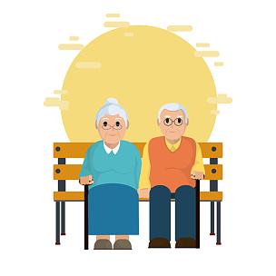 可爱的,祖父母,绘画插图,贺卡,公园,椅子,计算机制图,计算机图形学,卡通,仅成年人