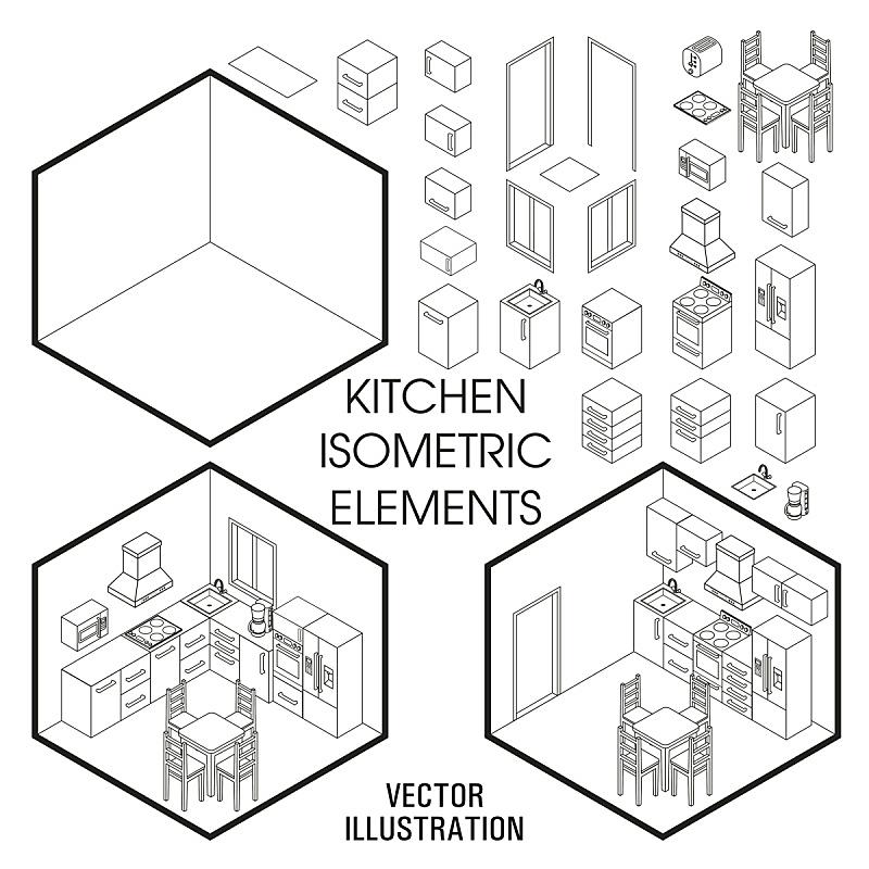 家具,模板,矢量,平坦的,三维图形,室内,住宅内部,厨房,设计,布置