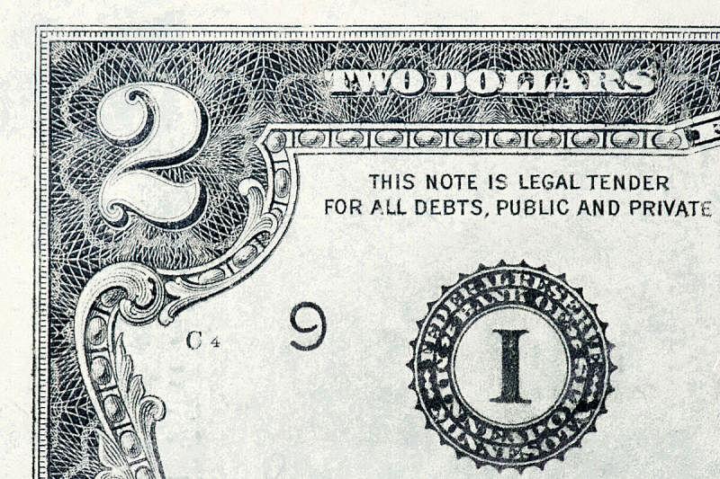 数字2,特写,帐单,两美元的钞票,水平画幅,商业金融和工业,2015年,纸,工资,深情的