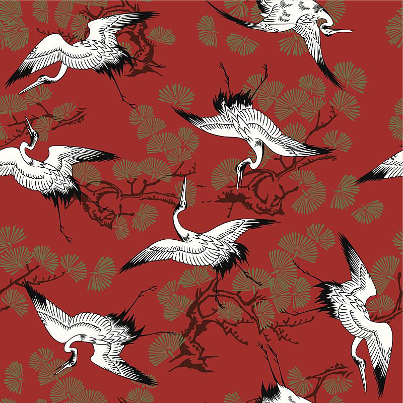 白色,式样,背景,黄金,丹顶鹤,红松,东方风格的木版艺术,鹤,灰鹤,鸟类