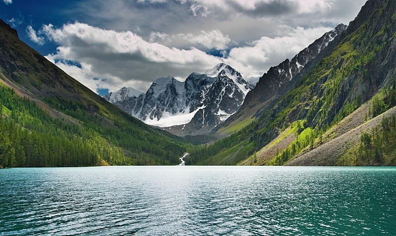 湖,山,自然,水平画幅,雪,无人,夏天,户外,冰,俄罗斯