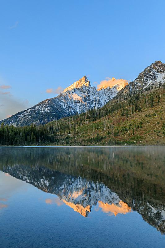 斯特林湖,大提顿国家公园,提顿山脉,怀俄明,自然,垂直画幅,天空,宁静,美国,地形