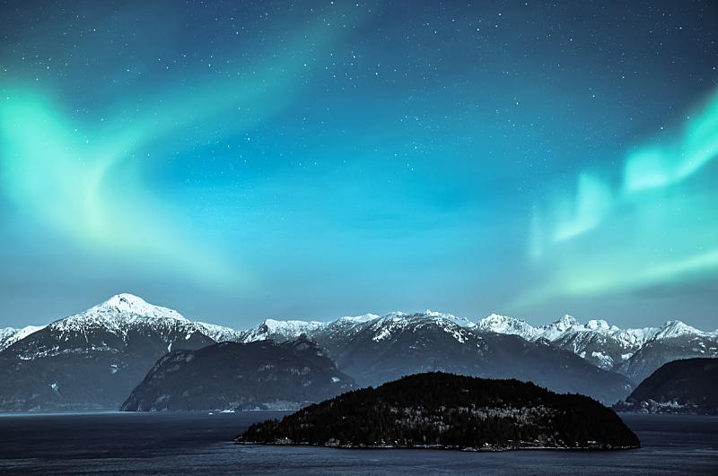 北极光,山,雪,在上面,极光,北,自然,地形,风景,冬天