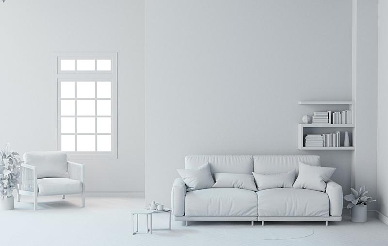 起居室,白色,三维图形,背景,室内设计师,边框,座位,水平画幅,墙,无人