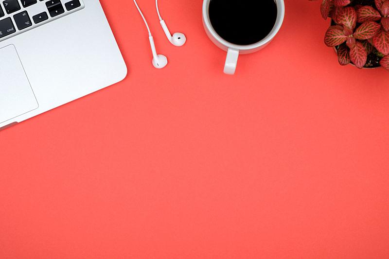 书桌,在上面,留白,红色,计算机,桌子,办公室,都市风景,桌面射击,创作行业