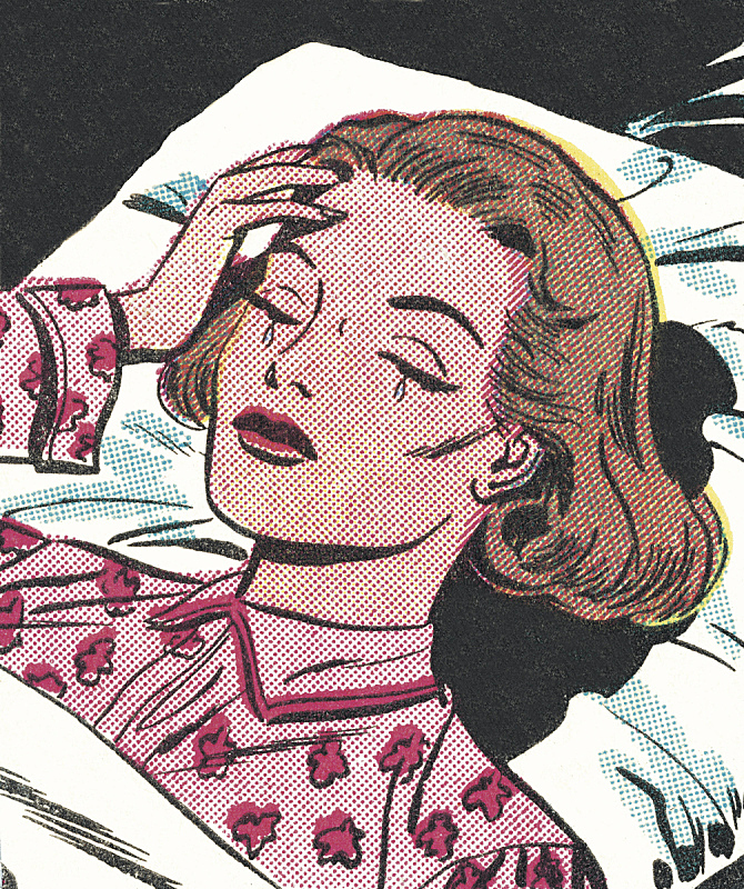Upset Woman Lying in Bed