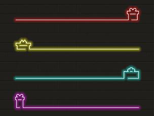 Present icon set in neon light. Vector illustration
