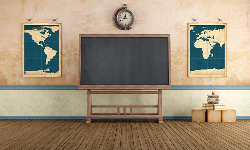 教室,水平画幅,墙,无人,硬木地板,砖墙,古老的,古典式,家具,钟