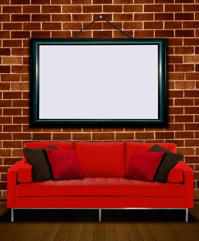 沙发,红色,相框,垂直画幅,长椅,座位,无人,砖墙,家具,舒服