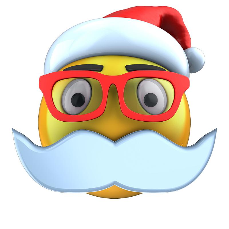 表情符号,黄色,帽子,三维图形,圣诞帽,在线聊天,络腮胡子,无人,绘画插图