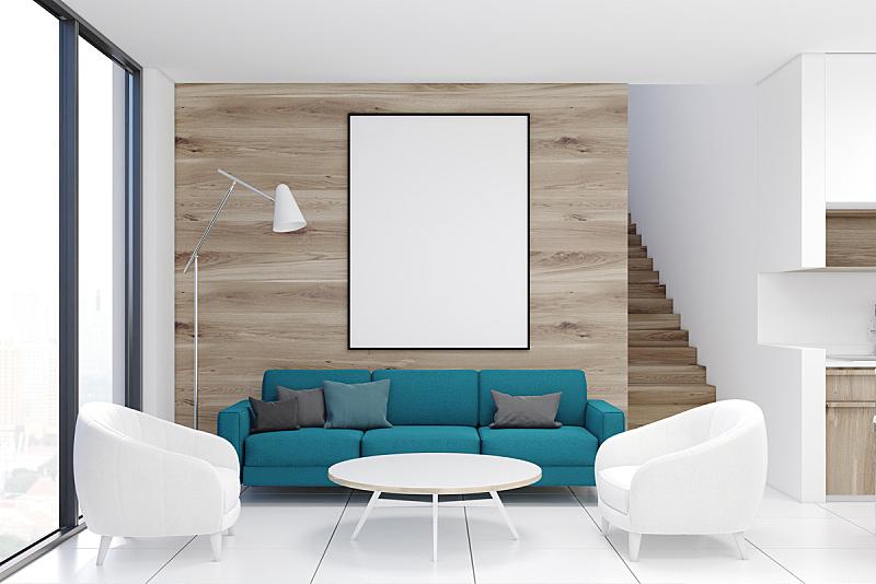 沙发,木制,起居室,蓝色,水平画幅,无人,椅子,家庭生活,家具