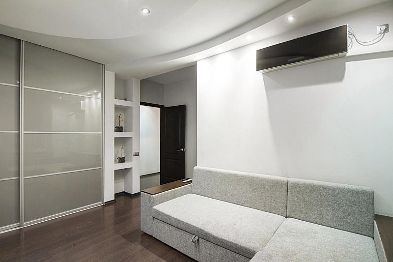 现代,住宅房间,室内,空调,灰色,照明设备,水平画幅,无人,家庭生活,灯