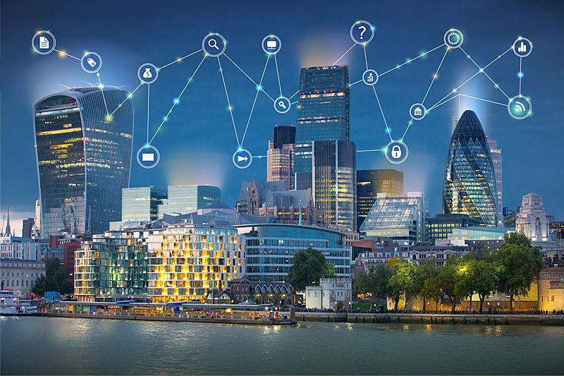 全球通讯,商务,概念,伦敦城,绘画插图,国际著名景点,泰晤士河,沟通,联系,日落