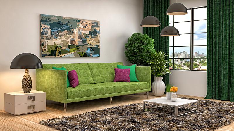 沙发,室内,绿色,三维图形,绘画插图,住宅房间,水平画幅,无人,装饰物,家具