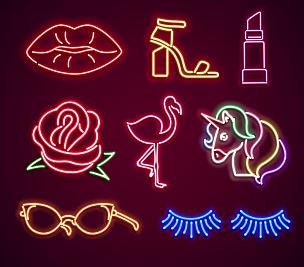 霓虹灯,时尚,绘画插图,古典式,标签,灯,卡通,唇膏,眼镜,马