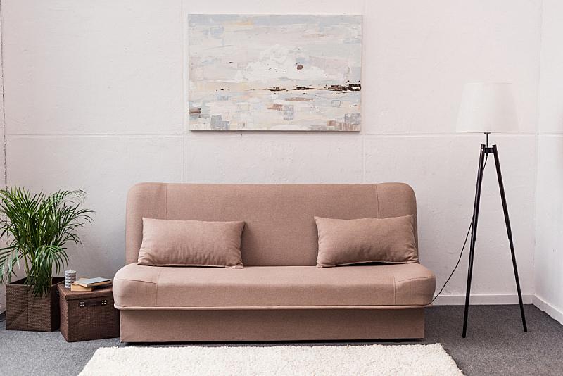 沙发,舒服,室内,起居室,高雅,美,留白,水平画幅,无人,家具