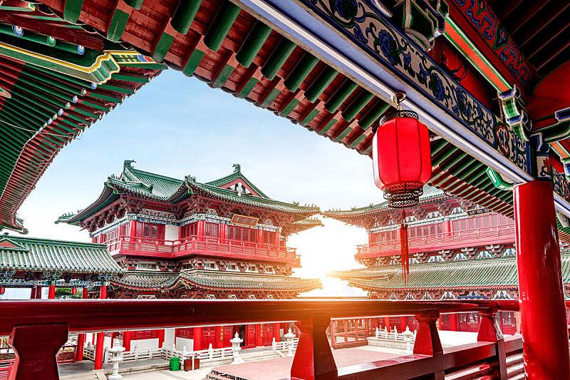 远古的,建筑外部,低的,南,亭台楼阁,宫殿,景观设计,角度,水,天空