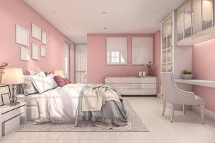 卧室,三维图形,自然美,小山羊,粉色,水平画幅,无人,椅子,绘画插图,架子