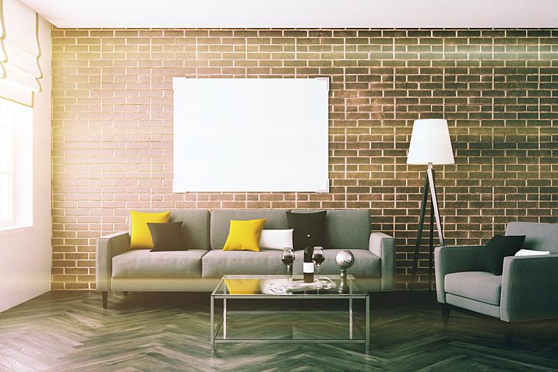 沙发,单色图片,砖墙,起居室,座位,水平画幅,无人,绘画插图,家庭生活