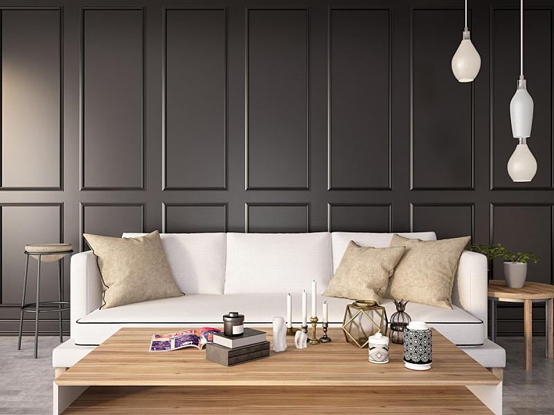 沙发,起居室,极简构图,黑色,木镶板,木隔板,华贵,舒服,地板,简单