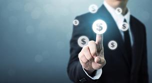 男商人,概念,金融,银行存款单,熔锅,金融技术,预算,美元符号,债务,退休金