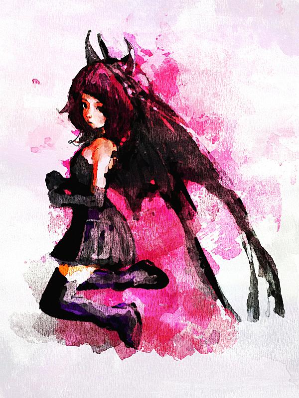 可爱的,恶魔,女孩,数码图形,服装翼,垂直画幅,美,青少年,贺卡