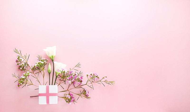 包装纸,贺卡,留白,水平画幅,高视角,无人,洋桔梗,花束,花蕾,植物