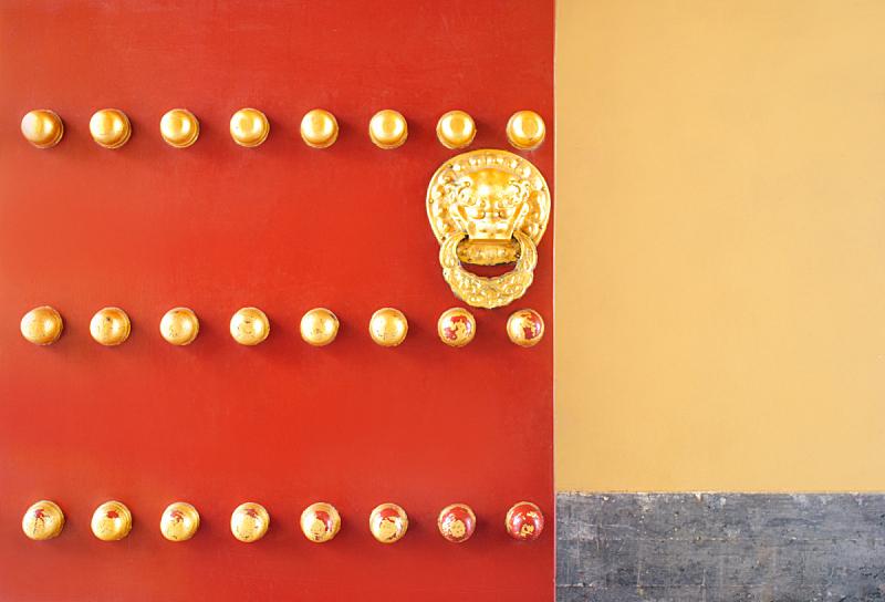狮子,黄金,门,中国,传统,门口,把手,故宫,关闭的,宫殿