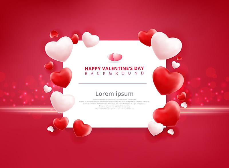 情人节,气球,心型,背景,式样,贺卡,留白,绘画插图,标签,传单