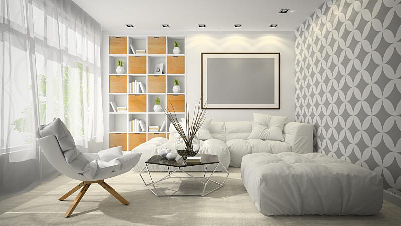 现代,三维图形,绘画插图,室内,住宅房间,扶手椅,舒服,地板,椅子,沙发
