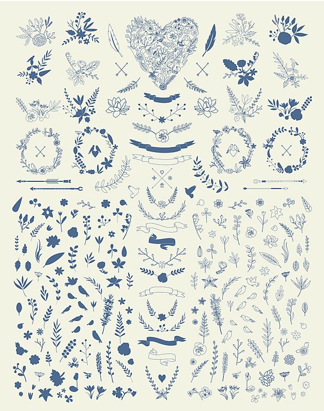 华丽的,仅一朵花,动物手,四元素,月桂花冠,月桂树,花环,花纹,枝,鸟类