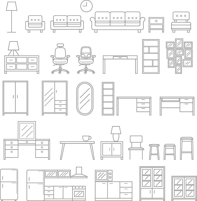 高雅,家具,成一排,计算机图标,吧椅,线条,一个物体,背景分离,计划书,长椅