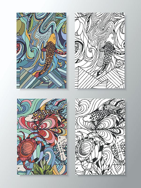 绘画插图,海洋生命,线条,部分,珊瑚色,米,稻,动物