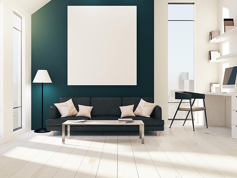 现代,住宅房间,个人随身用品,办公室,新的,水平画幅,无人,椅子,家庭生活