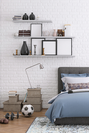 围墙,极简构图,留白,卧室,空白的,室内,纽约,砖,舒服,厚木板
