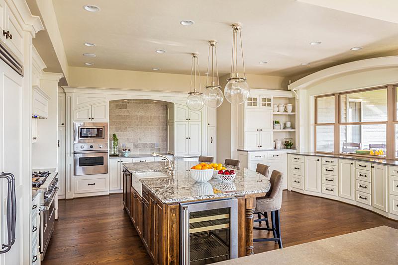 巨大的,岛,住宅内部,华贵,厨房,褐色,新的,水平画幅,无人,椅子