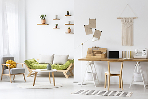 室内,书桌,钩针编织品,起居室,植物群,极简构图,书房,办公椅,波兰,扶手椅