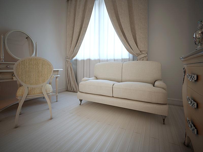 卧室,室内,水平画幅,无人,灯,单色调,薄纱网,床头柜,沙发,毯子