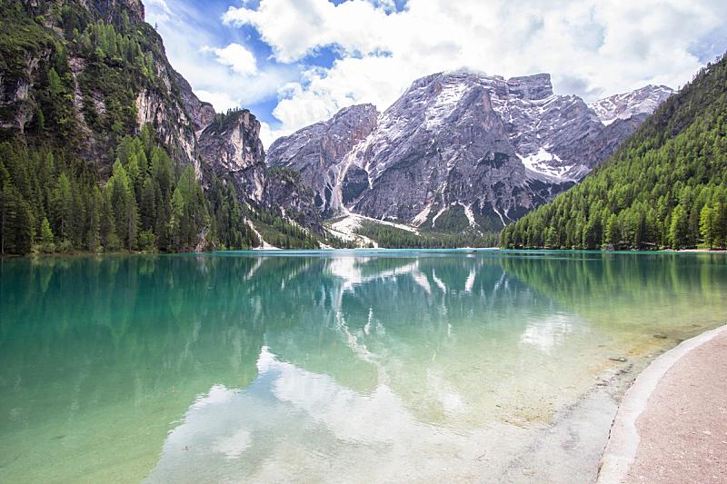 多洛米蒂山脉,布雷湖,意大利,水,公园,水平画幅,山,无人,夏天,湖
