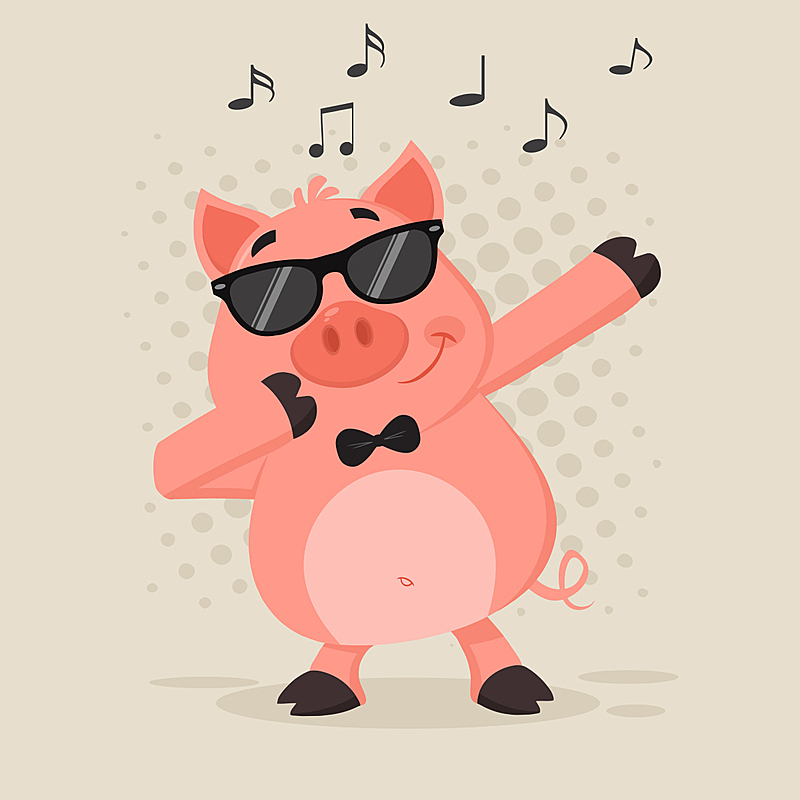 猪,幽默,动画片,太阳镜,点状,可爱的,浪漫,简单,哺乳纲,二月